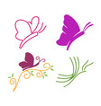 butterfly line logo design template set vector image vector image