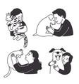 cartoon children love home animals vector image vector image