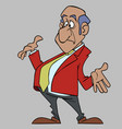 cartoon surprised man in a suit waving his arms vector image vector image