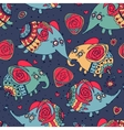 Cheerful seamless pattern with elephants and roses vector image vector image