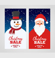 christmas sale - santa claus with snowman vector image