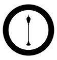 city street lantern icon black color in circle vector image