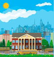 classical school building and cityscape vector image vector image