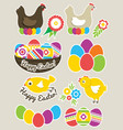 color easter stickers with eggs hen nest and vector image