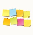 colored sheets of note papers with push pin vector image vector image