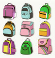 colored teenager school backpacks set vector image