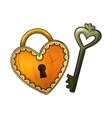 Colorful sketch heart shape lock and key vector image