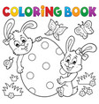 coloring book easter egg and rabbits vector image vector image