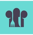 Cooks hat with fork and spoon in flat design vector image