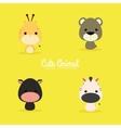 Cute Cartoon Wild Animals vector image vector image