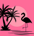 cute pink flamingo background vector image vector image