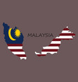 detailed of a map of malaysia with flag eps10 vector image vector image
