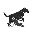dog and cat cut out silhouettes vector image