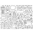 doodles christmas elements monochrome items vector image vector image