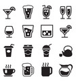 Drinking glass jug cup icons set