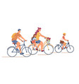 family riding on bicycles mother father children vector image