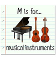 Flashcard letter M is for music vector image vector image