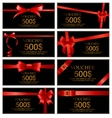 Gift Voucher with Red Bow and Ribbon Set Template vector image