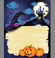 halloween with signboard vector image