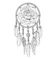 hand drawn ornate dreamcatcher with rose bud vector image