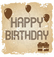 happy birthday on the old paper background eps10 vector image vector image