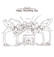 happy groundhog day card with group of men in vector image vector image