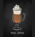 irish coffee cup on chalkboard background vector image