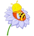 Little bee cartoon sleeping on the big flower vector image vector image