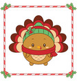 merry christmas cute thanksgiving turkey drawing vector image vector image