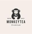 monkey tea hipster vintage logo icon vector image vector image