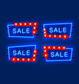 neon sale frame arrow set collection template vector image