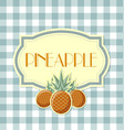 pineapple label on squared background vector image