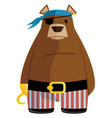 pirate bear color flat graphic cartoon illu vector image