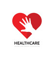 red heart and human hand concept business logo des vector image
