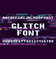 retro pixel art font on display with tv noise vector image vector image