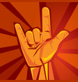 rock and roll or heavy metal hand sign horns party vector image