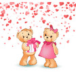 romantic teddy boy giving gift box to girl vector image