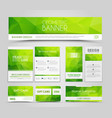 set green corporate style polygonal vector image