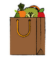 shopping bag with vegetables vector image vector image