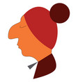 side face a big nose boy wearing a red head cap vector image vector image
