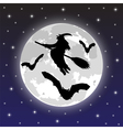 silhouettes of witches and bats vector image vector image