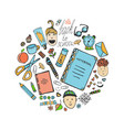 sketch school stationery set and children icons vector image vector image