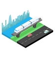 Sky train and city skyline isometric vector image