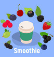 smoothie concept banner isometric style vector image vector image