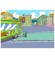 Stylized bus stop sketch vector image vector image