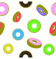 sweet glazed colorful donut seamless pattern fast vector image vector image