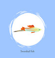 swordtail fish in white circle isolated on blue vector image vector image