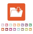 The folder icon File download symbol Flat vector image vector image