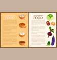 vegetarian food posters set vector image vector image