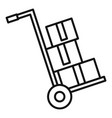 warehouse cart box icon outline style vector image
